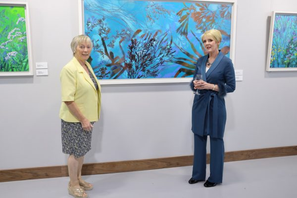 Éanna Ní Lamhna and artist Kathrine Geoghegan at the launch of her exhibition 'Shifting Sands … a startling evolution' at Associated Rewinds, Tallaght, September 12th 2020.